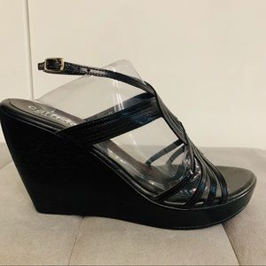 New Callisto black leather platform wedge s9